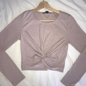 Tops - PURPLE KNOT FRONT CROPPED LONG SLEEVE SHIRT